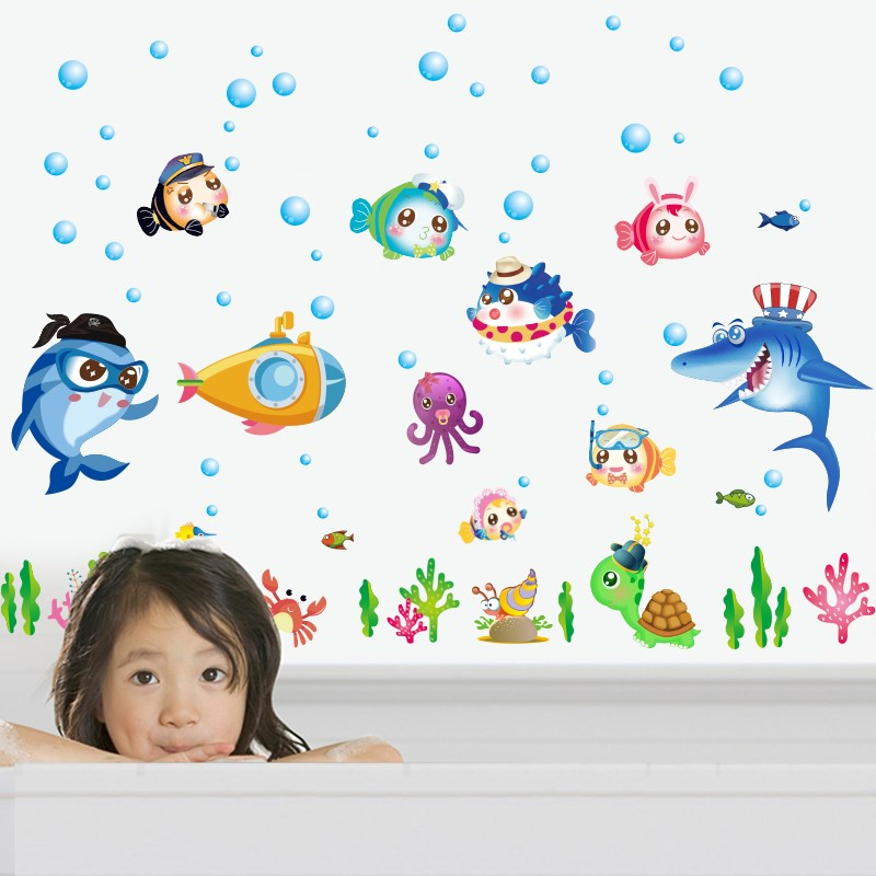 Wall Sticker New Product 2017 Sk7070 Sea World And Cute Animals