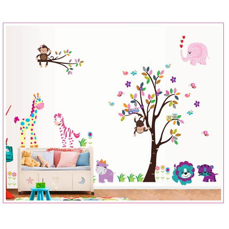 Wall sticker product 2013 2016 df5091 lion owl zebra wall sticker adesivo parede wandsticker for Autocollant decoratif mural